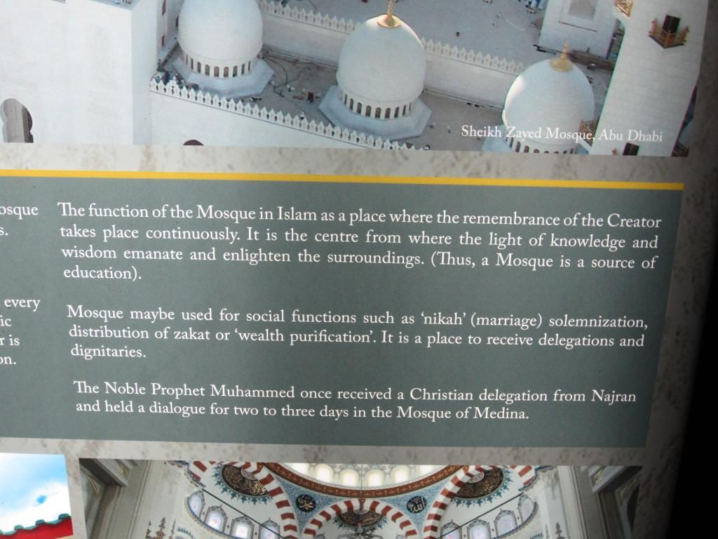 Display at the Sultan Masjid, Singapore.